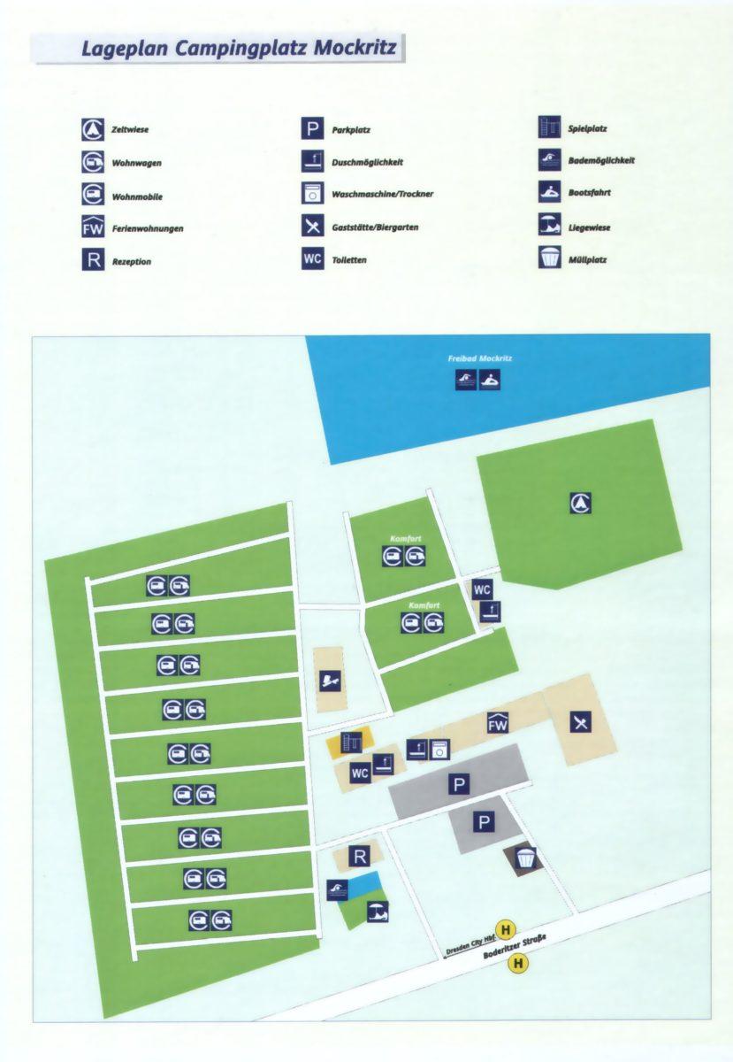 Lageplan Campingplatz Dresden Mockritz